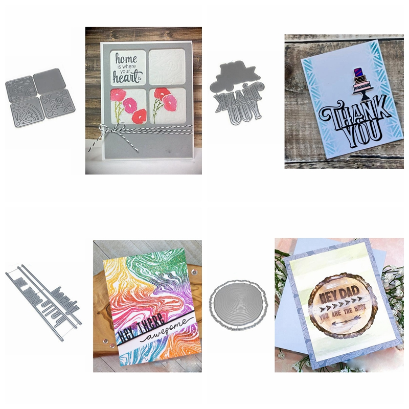 Thank You Square Frame Annual Ring Cutting Dies Stencil Crafts DIY Card Album Making Template Embossing Scrapbooking New 2019