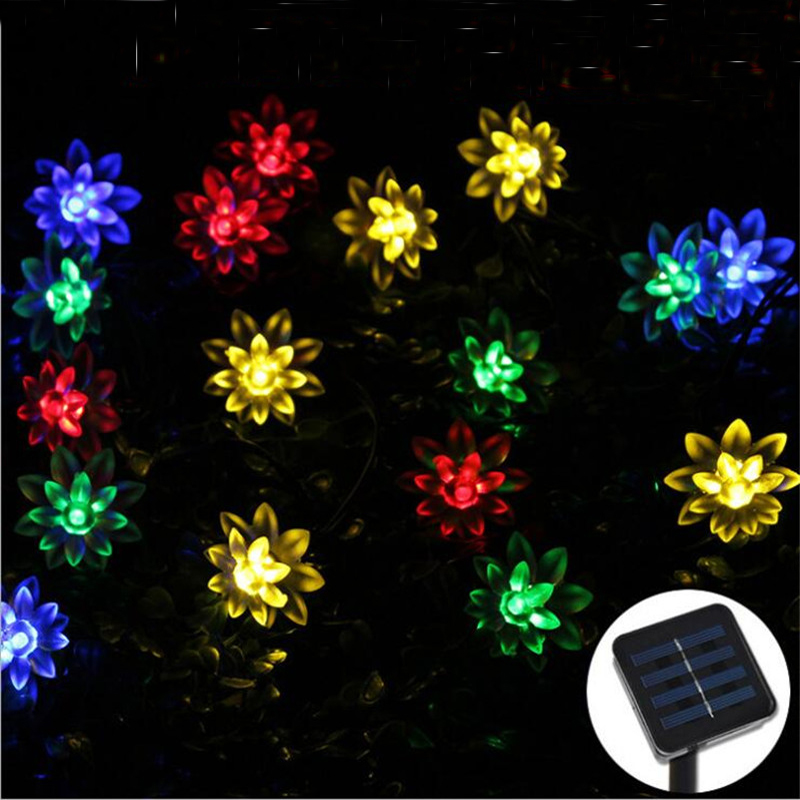 LED Solar Christmas Outdoor String Lights Lotus Flower 50 LED IP65 Multi Color white Lighting for Garden Holiday Decoration