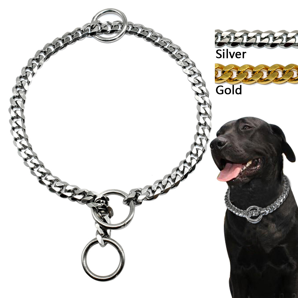 3mm Diameter Hund Choke Chain Choker Collar Sterk Sølv Gull Chrome Steel Metal Training 45cm Lengde