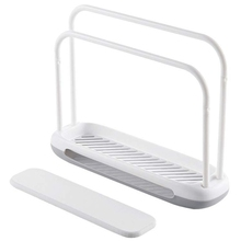 Detachable Towel Storage Rack Dishcloth Sponge Drying Quick Water Absorbing Double Rod Rag Stand (White)