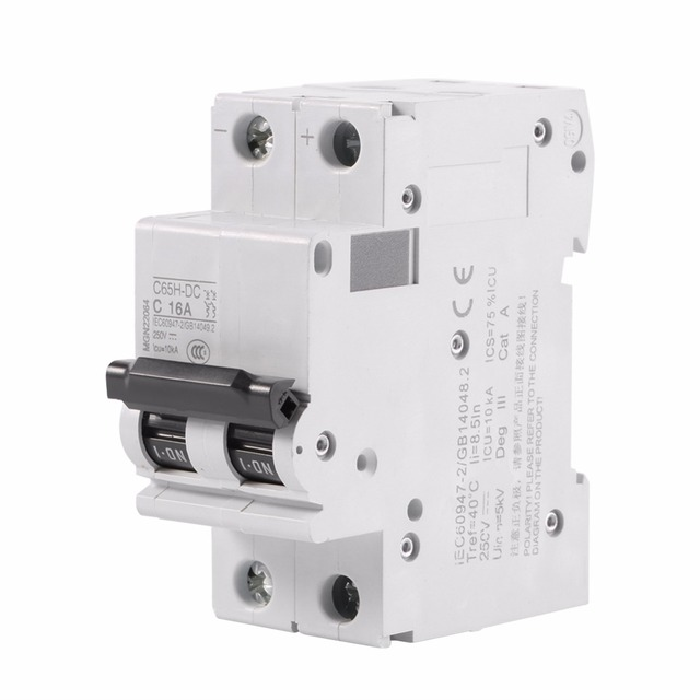 16A/ 32A/ 63A Amps Electric 2P 250V Miniature Circuit Breaker Circuit Breaker Air Switch Low voltage C65H DC for DC Systems-in Switches from Lights & ...