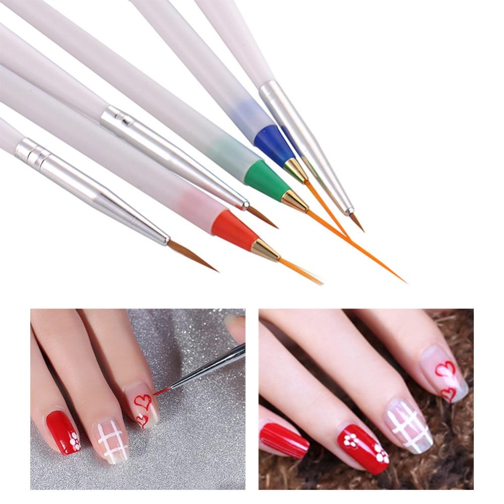 6Pcs/Pack DIY Nail Art Pencil Nail Beauty Paint Brushes Color ...