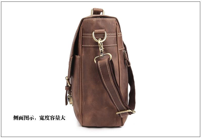 Men's Genuine Leather Briefcase Handbag Laptop Document Bags Portfolio iPad Case Messenger Crossbody Shoulder Bag Mushi1042