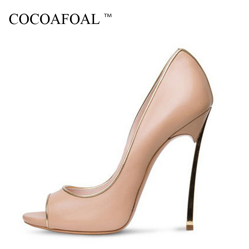 COCOAFOAL Stiletto Woman Sexy Peep Toe Pumps Plus Size 33 - 43 Party Red Wedding Pumps Fashion Metal Ultra High Heels Shoes 2018 enmayer cross tied shoes woman summer pumps plus size 35 46 sexy party wedding shoes high heels peep toe womens pumps shoe