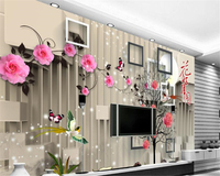 Beibehang 3d Wallpaper Beautiful Fashion Flowers On A Full Moon 3D Simple Foliage Rose Three Dimensional