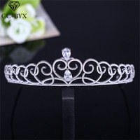 CC tiaras and crowns bridal crown heart shape crystal simple design rhinestone wedding high quality for women jewelry gift XY004