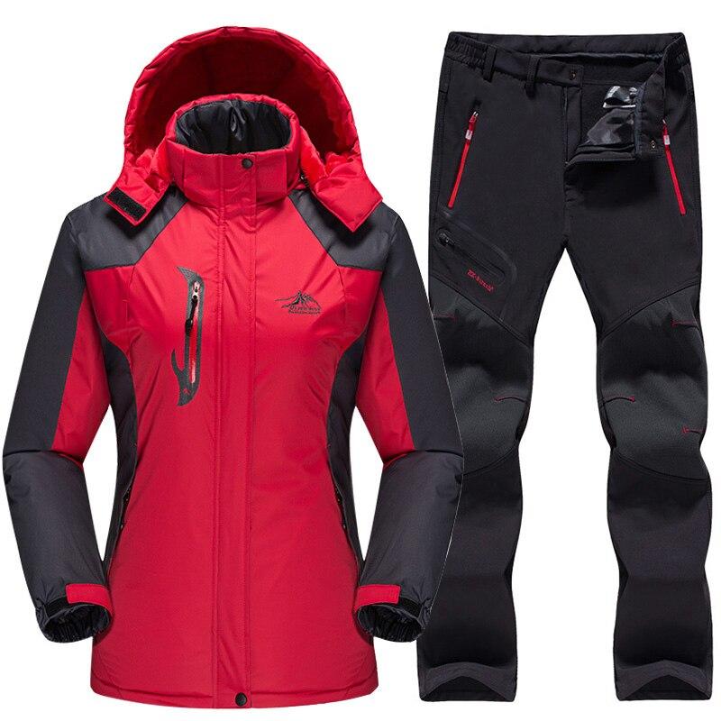 979d32d9d19f Купить Водонепроницаемый лыжный костюм Для женщин лыжная куртка брюки  Женская зимняя обувь Открытый Лыжный Спорт Снег Сноуборд флисовая куртка б.