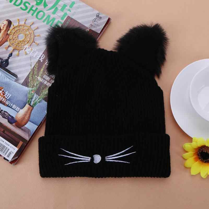 2019 Warm Black Knitted Winter Hat For Women Cute Cat Ears Hat Skullies Hats Pompom Caps Female Femme Woolen Braided Fur Hat