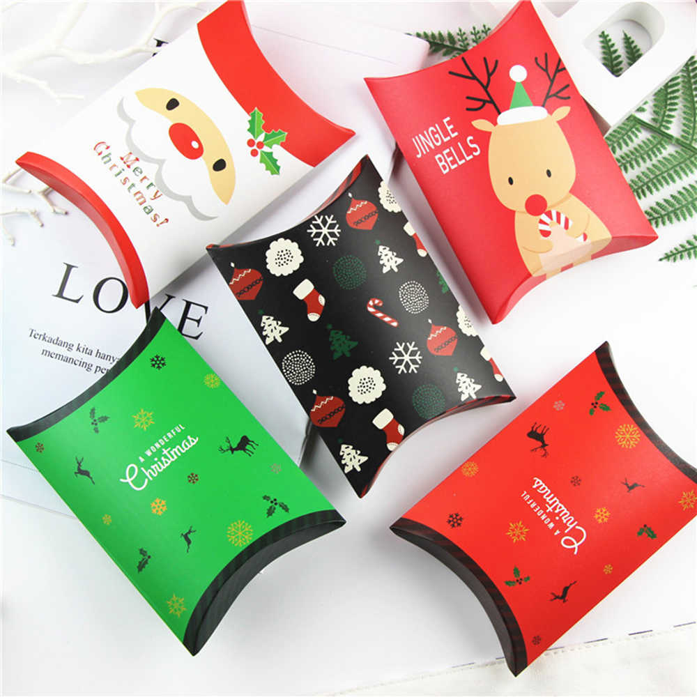New 5/10pcs Pillow Shape Xmas Tree Elk Christmas Candy Box Paper Cookies Boxes Fold DIY Christmas Gift Bag Party Supplies