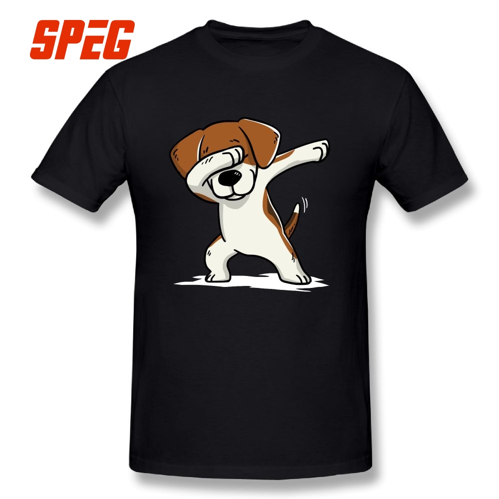 Dabbing Beagle Funny Beagle Dog Fashion Short-Sleeve   T  -  Shirts   100% Cotton   T     Shirts   Men's Crew Neck Comic Tee   Shirt