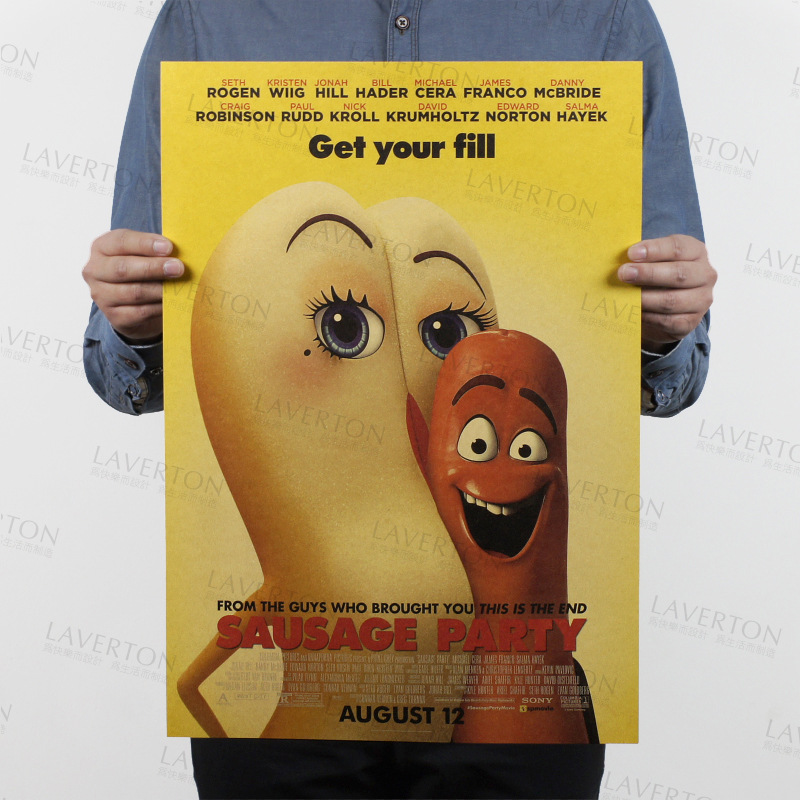 Sausage Party/classic cartoon movie film/kraft paper/Cafe/bar poster/Retro Poster/decorative painting 51x35.5cm Free shipping