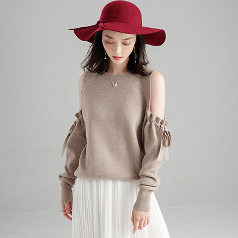 Spring New Loose Slim Fashion Sweater Women's Off-the-shoulder Bow Temperament Knit Bottoming Sweater Female Round Neck Trend