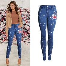 Olrain женские джинсы высокой талии тощие повседневные slim fit прохладный вышивка деним эластичный деним брюки карандаш