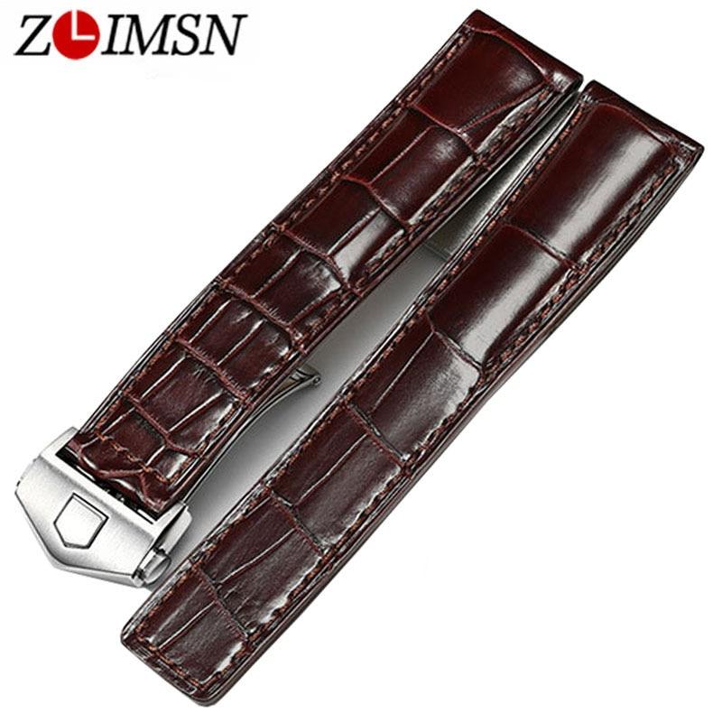 Zlimsn коричневый ремешок из крокодиловой Для мужчин Для женщин Роскошные кожи аллигатора Смотреть Band 19 мм 20 мм 21 мм ремешок может быть индивид...