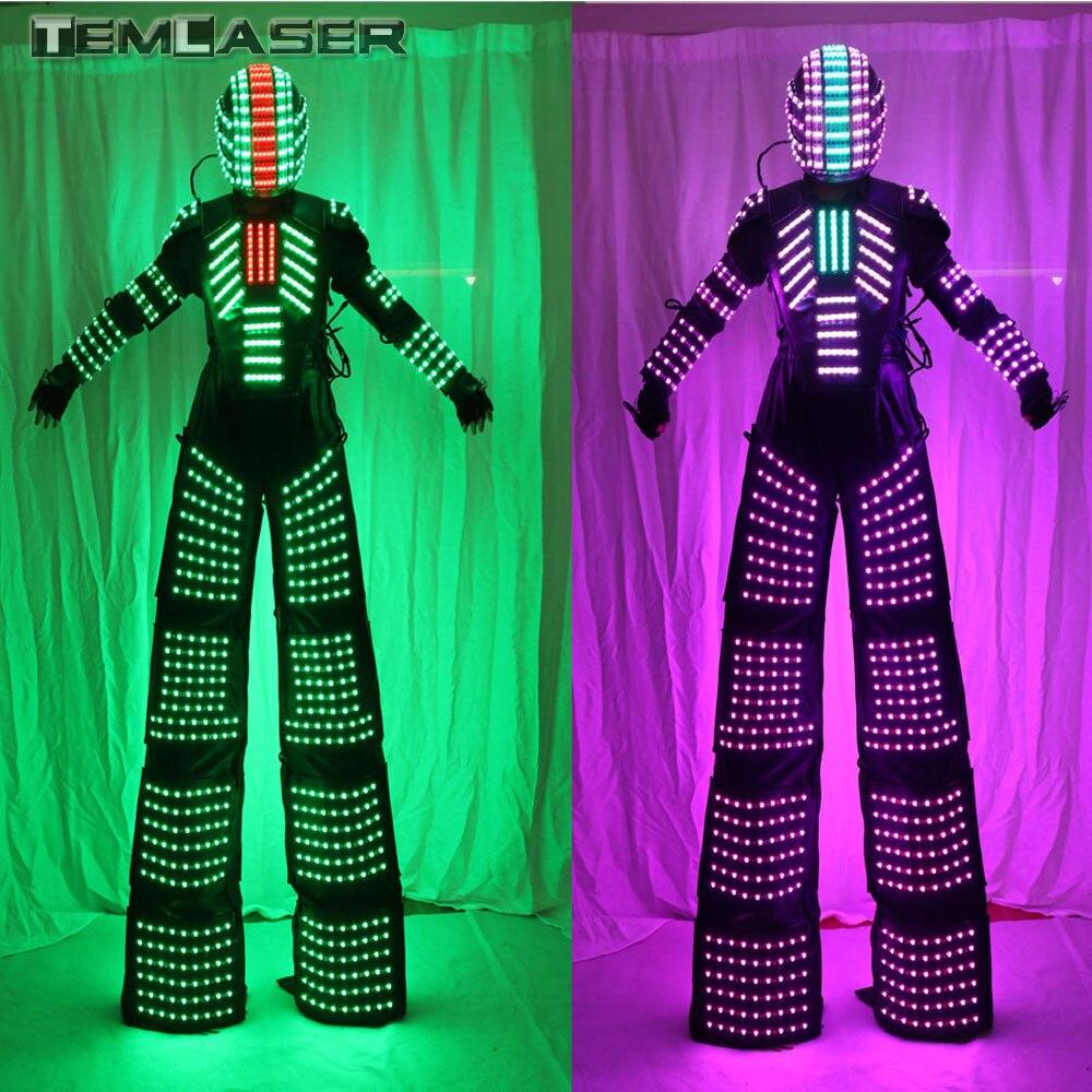 Pilotis Walker LED Lumières Costumes, Costume de Danseur LED Robot Pour Soirée Performance Festival de Musique Électronique DJ Montrent