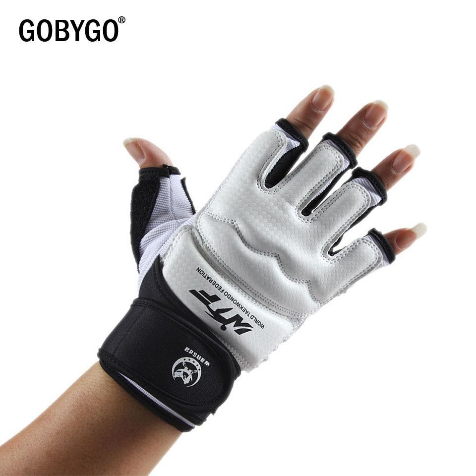 ca20c7472 Cheap GOBYGO mitad Mitad de dedo lucha guantes de Boxeo de cuero Protector  de formación para