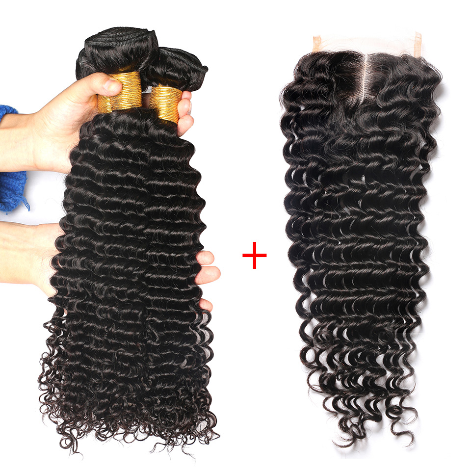 Deep Wave Human Hair 3 Bundles With Middle Part Closure Brazilian Hair Weave Bundles With Closure Remy 4PCS Beauty On Line Hair