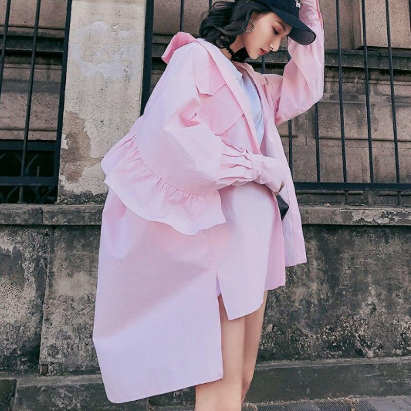 LANMREM 2019 Summer Antumn New Fashion Tied Sunscreen Coat Turn down Collar Ruffles Pockets Loose Long