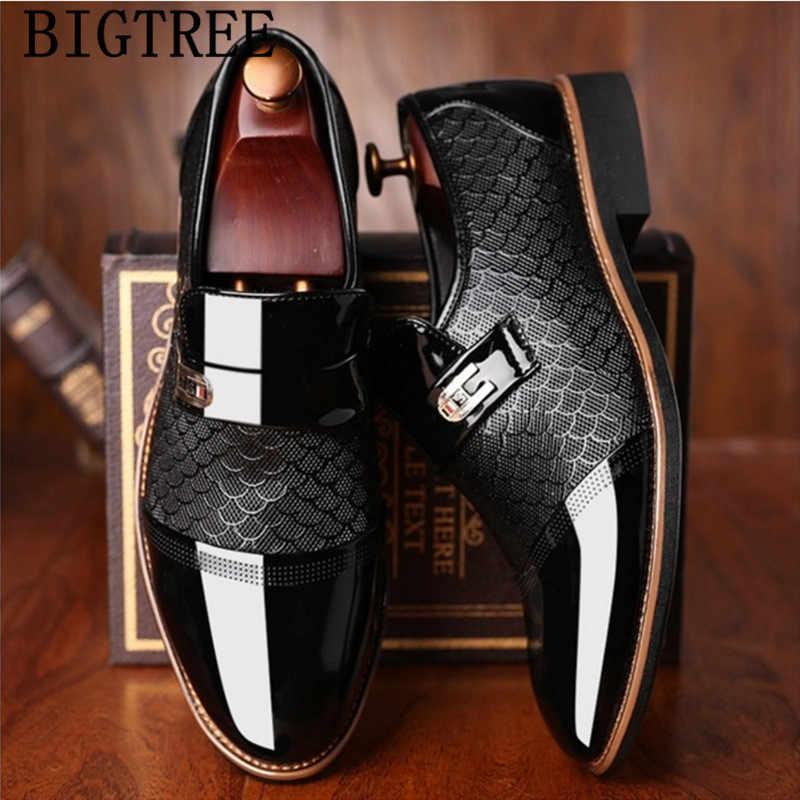 Italiaanse Zwarte Formele Schoenen Mannen Loafers Trouwjurk Schoenen Mannen Lakleer Oxford Schoenen Voor Mannen Chaussures Hommes En Cuir