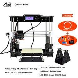 Anet A8 nivel automático y Normal impresora 3D boquilla de 0,4mm i3 aleación de aluminio caliente Pritner Kit DIY filamento 8G tarjeta SD