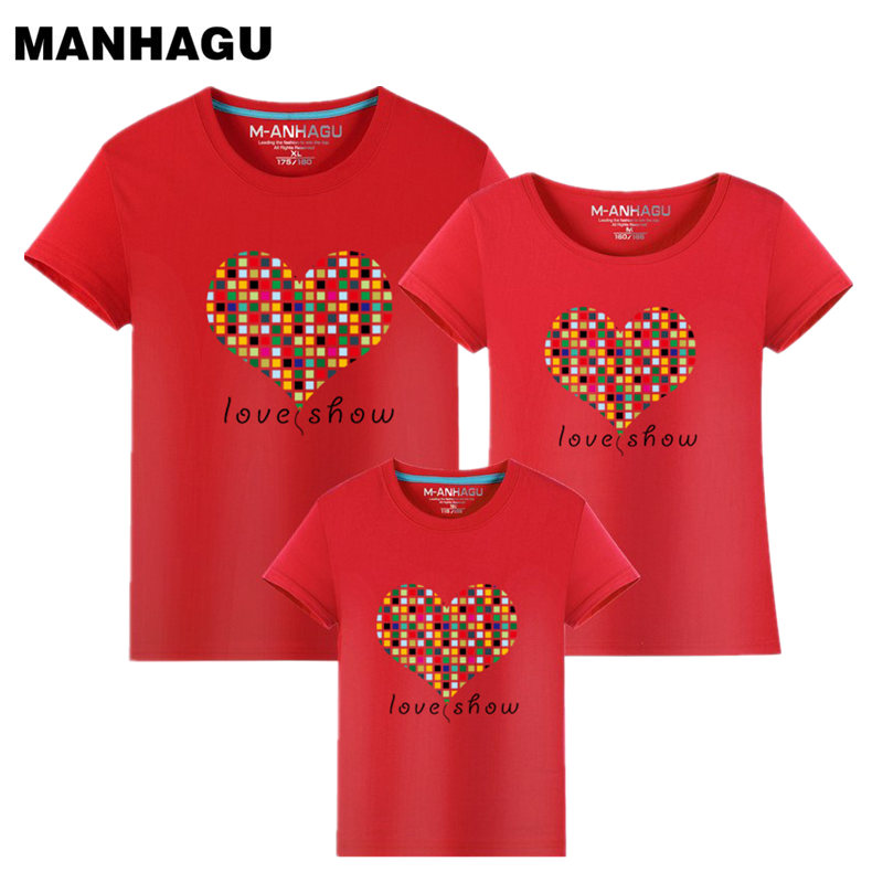 MANHAGU Brand 1piece family matching outfits roupas mae e filha baby Boy girl mom and daughter clothes Love family look T-shirt