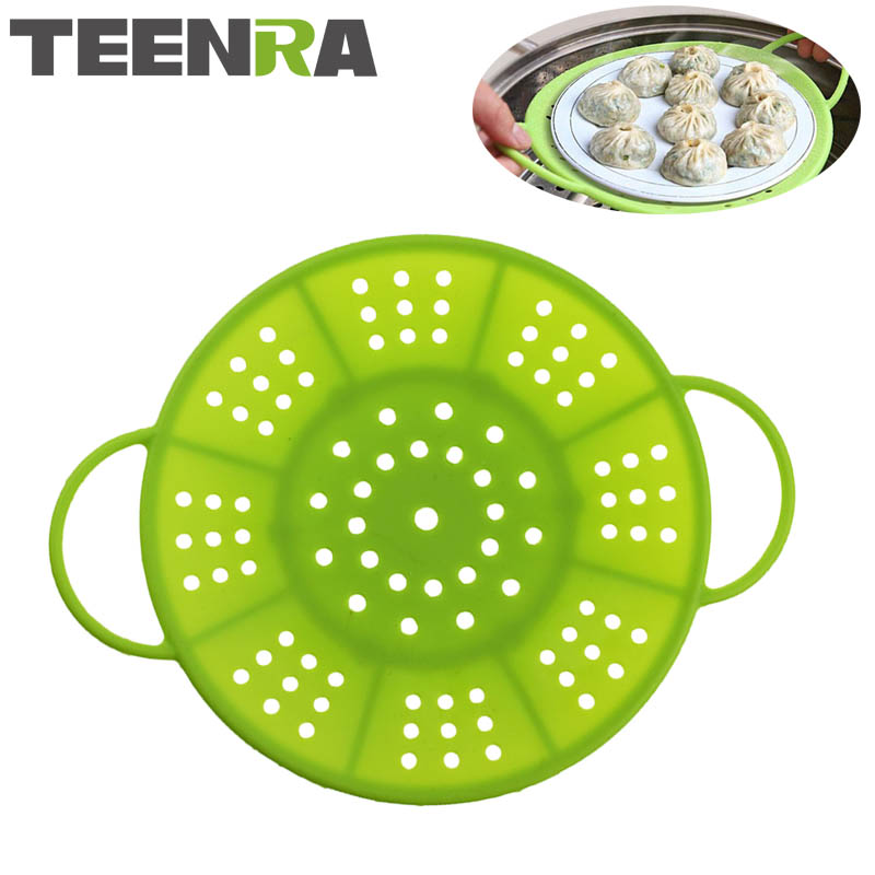 TEENRA 1Pcs Vegetable Silicone Steamer Fruit Basket Non-slip Food Steamer Round Dish Kitchen Steamer Cooking Tools