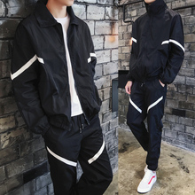Jacket suit Spring mens thin jacket set Large size S-5XL loose sports running two-piece (jacket + casual trousers)