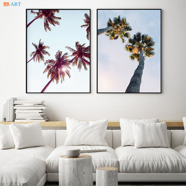 Palm Tree Leaves Art Print Ocean Canvas Painting Tropical Wall Large Posters Pictures For