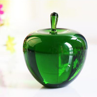 Home Decoration 100mm Green Crystal Apple Wedding Decoration Top Quality Quartz Crystal Ball Craft Gift Birthday Glass Ball