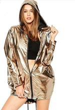 Imitation Metal Loose Fit Waterproof Zipper Hoodie Coat Clothes Autumn Winter Long Sleeve Hoodies Women
