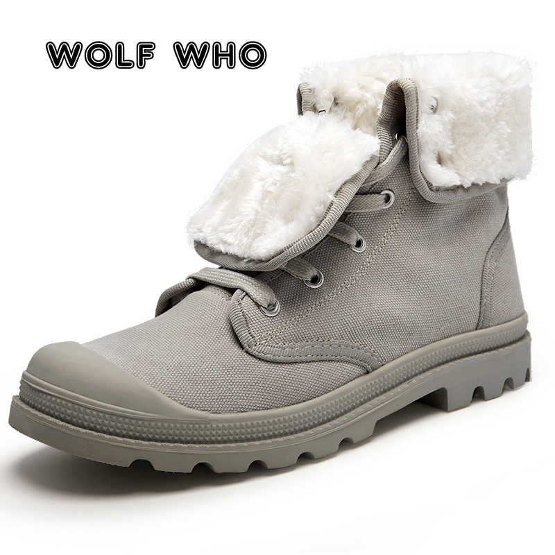 2cf0c3b7c6 Detail Feedback Questions about WOLF WHO Winter Men Canvas Boots ...