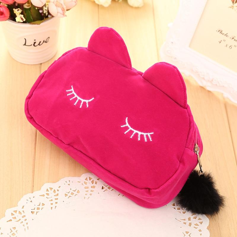 Fashion Women Makeup Bag Cartoon Eyelash Zipper Plush Cosmetic Bag Travel Storage Bags Organizer Travel Toiletry Bag Beauty Case