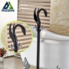 Brand New Floor Mounted Bath Tub Faucet Filler Dual Cross Handles Bathroom Tub Mixer Taps Swan Style