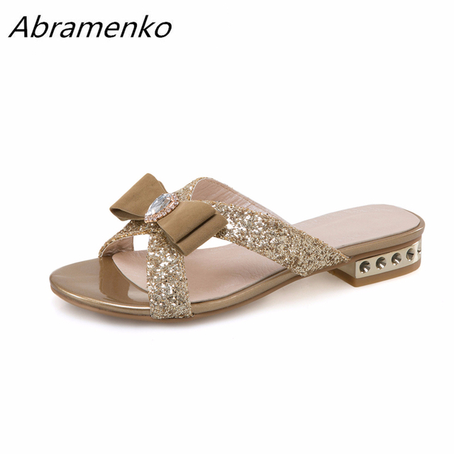 1d6b6fe2a9cd Abramenko Summer Shoes For Women Slippers Diamond Bow Bling Sandals Genuine  Leather Women Causal Black Gold Flats Big Size 12