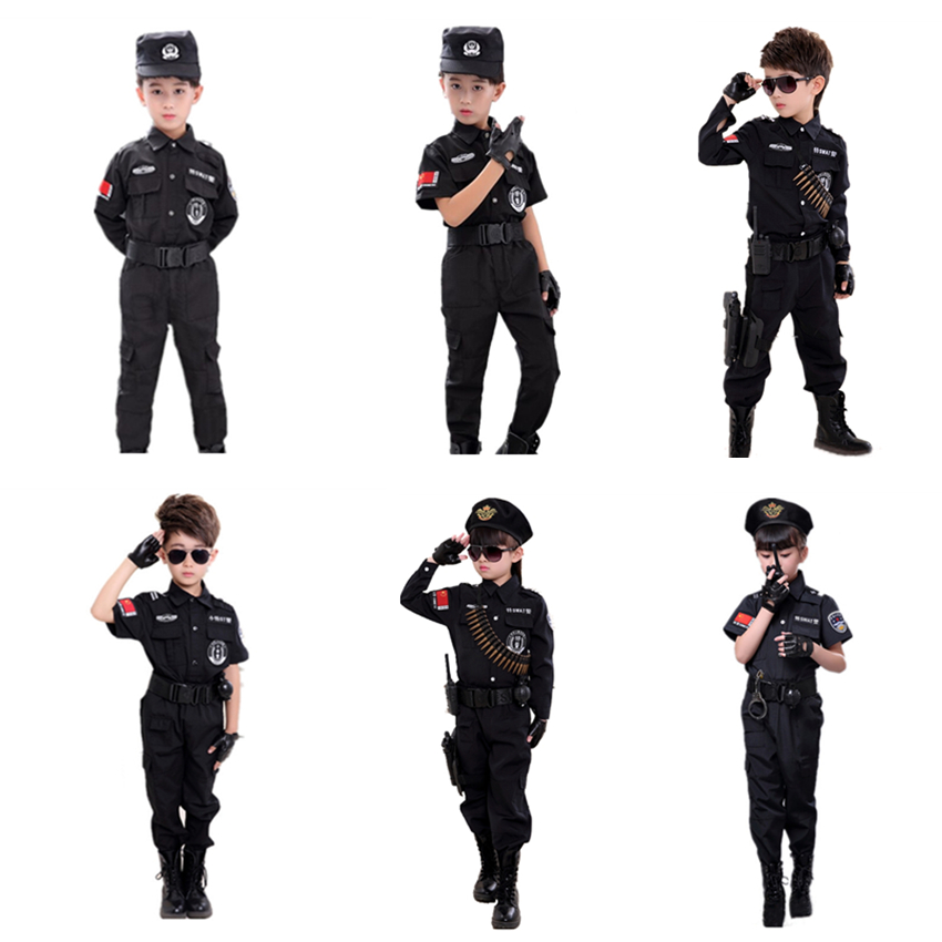 Children Carnival Cosplay Policemen Costumes Boys Halloween Military Army Uniform Kids Purim Party Clothing Birthday Gift
