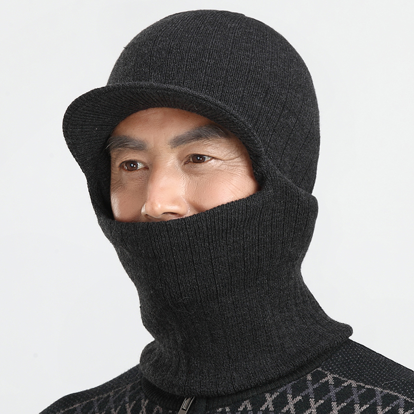 Men Hat Casual Balaclava Cap Winter Warm Wool Knitted Face Neck Cover Ear Flaps Skullies Beanies Hat for Father X-mas Gift men s skullies winter wool knitted hat outdoor warm casual solid caps for men caps hats
