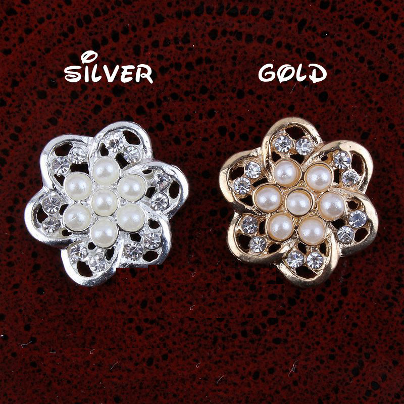 Цветок со стразами и жемчугом кнопки в серебре и позолоченный металл перлы Пуговицы плоской задней Украшения 30 шт. 20 мм rmm230