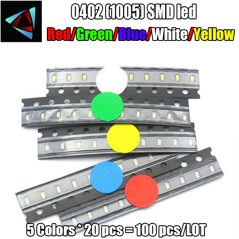 0402 SMD LED package emitting tube package 5 colors (red, yellow, white, green and blue) 1.0*0.5*0.4MM 5*20Pcs=100Pcs
