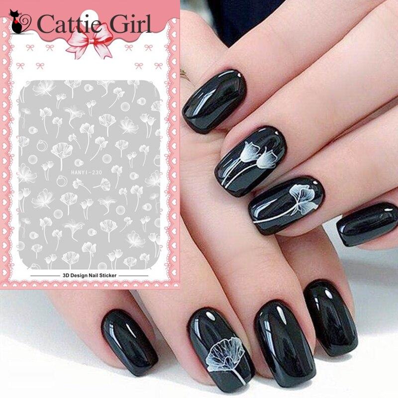 1 sheet white lotus nail sticker