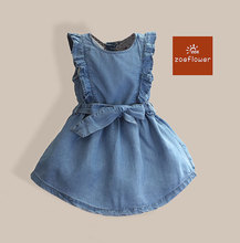 Fashion Cute Little Girl Dresses Casual Jeans Baby Girls Dress Summer Vest Belt Girls Dress Denim