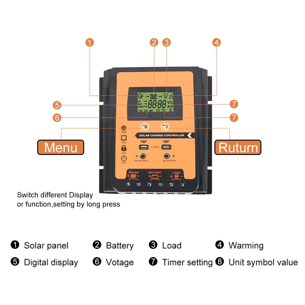 30A/50A/70A 12 В 24 в автоматический контроллер заряда ШИМ с ЖК-экраном солнечная батарея для телефона регулятор PV дома