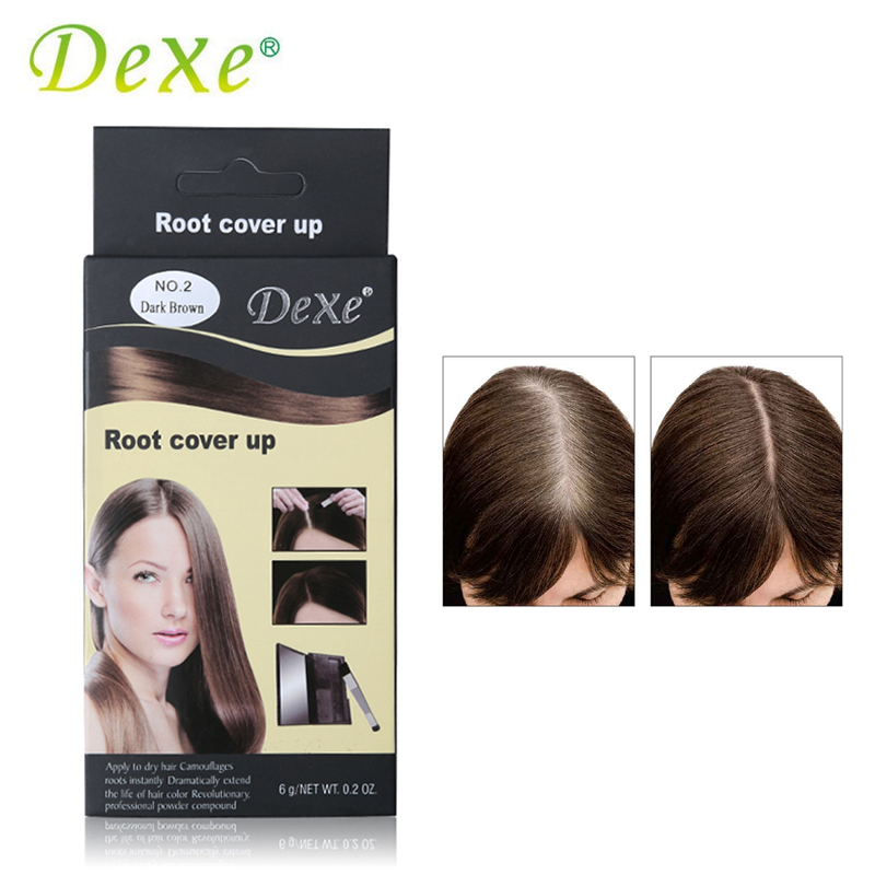 Dexe Temporary Hair Dye Powder Root Cover Up Gray Hair Become Black