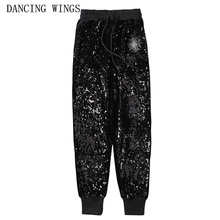 Personality women's black stretch trousers elastic waist gold velvet embroidered sequins ha