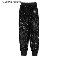 Personality women's black stretch trousers elastic waist gold velvet embroidered sequins harem pants Performance