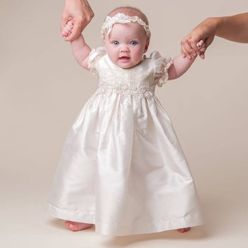 New Customized Baby Girls Christening Dress Lace Soft Infant Girls Baptism Gown Birthday Dress