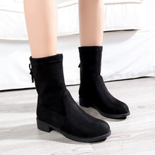 YOUYEDIAN Women Flcok Boots Flat Low Zipper Middle Tube Boots Casual Shoes Martin Boots chaussure femme talon botte#a3(China)