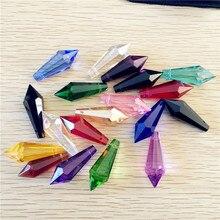 10 шт./лот 38 мм Разноцветные люстры стеклянные кристаллы призмы детали сосулька Висячие Подвески Suncatcher Свадебные украшения+ Бесплатные Кольца