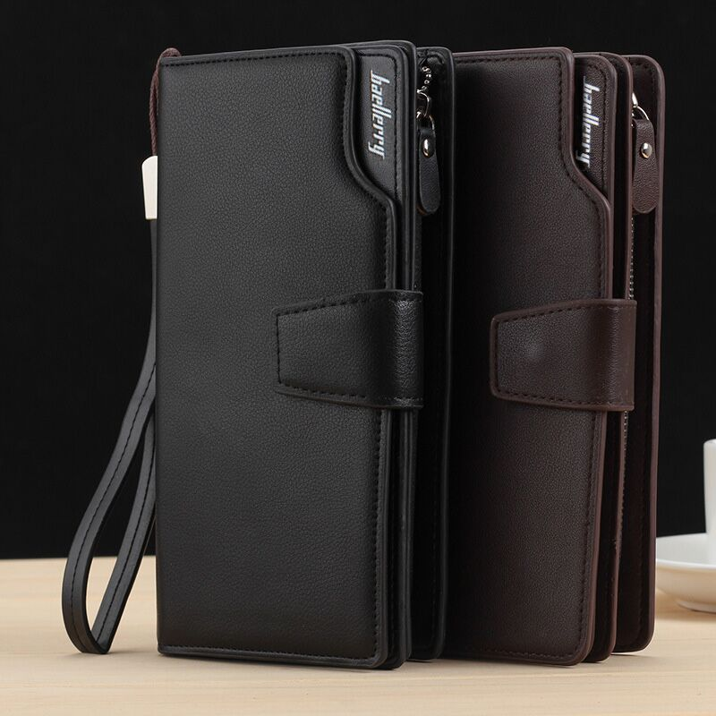 цена на Long Large Capacity Organizer Leather Men Wallets Wristlets Clutch Bag Zipper Pocket Card Holder Coin Purse Man Money Bag Wallet