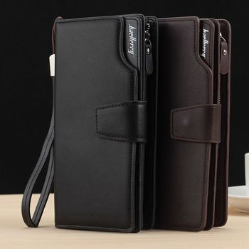 Long Large Capacity Organizer Leather Men Wallets Wristlets Clutch Bag Zipper Pocket Card Holder Coin Purse Man Money Bag Wallet