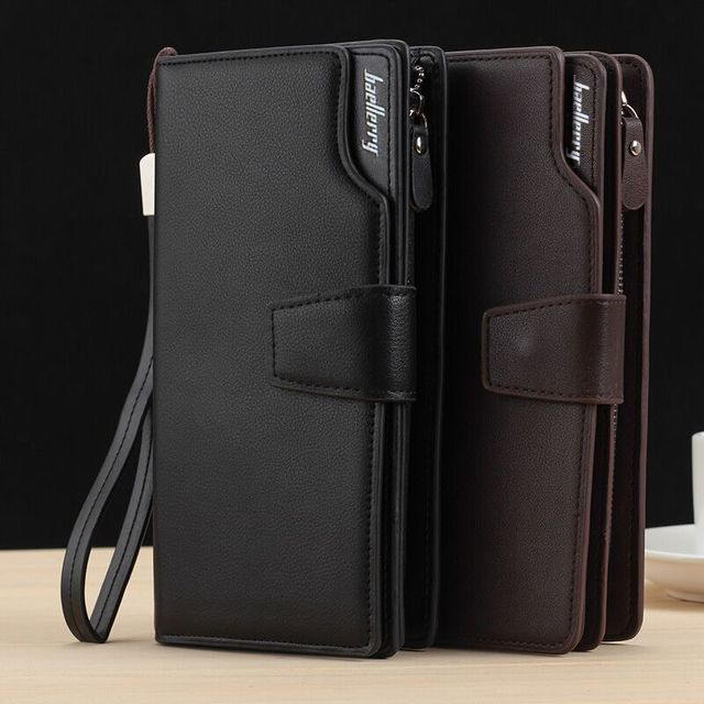 e705f1b88b5f Long Large Capacity Organizer Leather Men Wallets Wristlets Clutch Bag  Zipper Pocket Card Holder Coin Purse